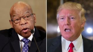 就任式欠席を表明した公民権運動の闘士、ジョン・ルイス下院議員(左)を攻撃したドナルド・トランプ氏に、非難が集中している