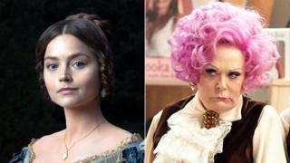 Jenna Coleman as Queen Victoria (left) and Sherrie Hewson as Mrs Slocombe