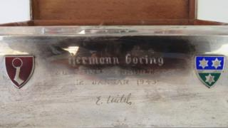 Close-up of Hermann Goering's cigar case