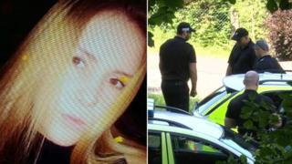 Shauna Davies and police at the scene