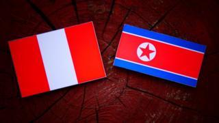 Banderas de Perú y Corea del Norte