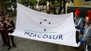 The Mercosur flag is raised in front of the Venezuelan Foreign Office building, in Caracas in August 2016.