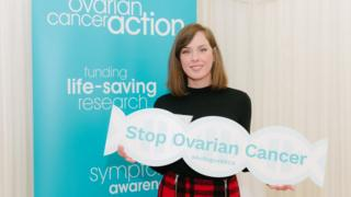 Carla presenting a policy paper published by Ovarian Cancer Action