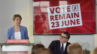 Yvette Cooper and Tom Watson at Labour Remain event