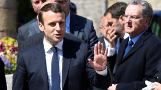 Emmanuel Macron attends a funeral for French Socialist party (PS) lawmaker Corinne Erhel, (10 May)