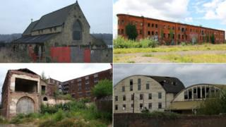 St Andrew's Church, Huddersfield, The Great Northern Railway Warehouse, Derby, Chance's Glassworks, Smethwick, West Midlands, Fison's Fertiliser Factory, Bramford, Suffolk