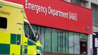 An ambulance parked at the Accident and Emergency department (A&E) at St Thomas' Hospital in London, 13 January 2017