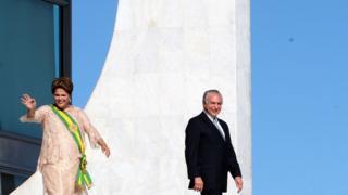 Dilma e Temer na posse dela, em 1º de janeiro de 2015