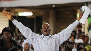 Christian worshipper in Africa
