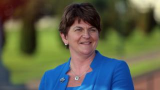 Arlene Foster speaking to the media in the grounds of Stormont's Parliament Buildings