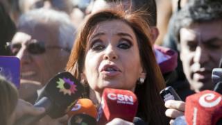 Cristina Fernandez de Kirchner outside court in Buenos Aires