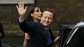 David Cameron and his wife Samantha as they leave Downing Street for the last time
