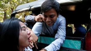 Reuters journalist Kyaw Soe Oo arrives at the court in Yangon, Myanmar January 10, 2018