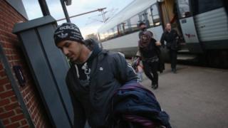 Refugees arrive in Padborg, Denmark. 6 January 2016