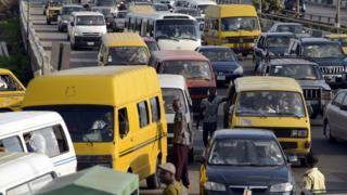 Motorists stuck in traffic jam in Lagos, Nigeria