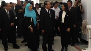 在親民黨副秘書長劉文雄的葬禮上,黨主席宋楚瑜面容哀戚。