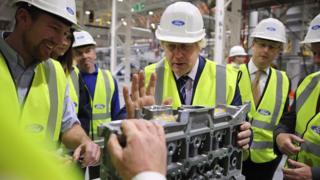 Boris Johnson visits Ford's engine plant in Dagenham