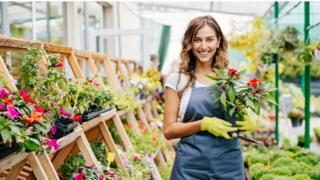 Employee in garden centre