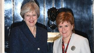 Theresa May greeted Nicola Sturgeon at the front door of 10 Downing Street