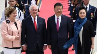 "US Secretary of State Rex Tillerson (2nd L) and his wife Renda St. Clair (L) greet the President of the People""s Republic of China Xi Jinping (2nd R)and his wife Peng Liyuan (R) as they arrive to Palm Beach International Airport on Thursday, April 6, 2017 in West Palm Beach, Fla."