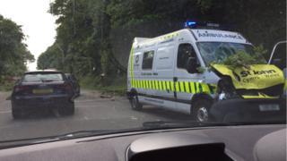 A damaged St John Ambulance