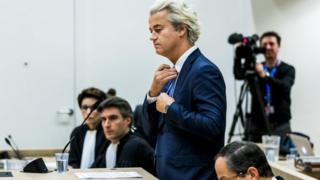 Geert Wilders on trial in a secure courtroom in November 2016