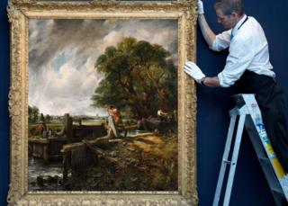 The Lock by John Constable hangs on a blue wall