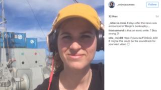 """8 days after the news was announced of Hanjin's bankruptcy"", reads the caption on Rebecca Moss' photograph on her Instagram page"