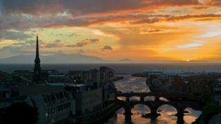 Sunset over Ayr and Arran