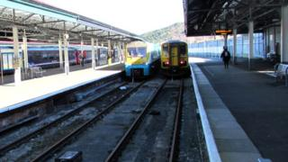 Platforms 3 and 4 at Swansea railway station