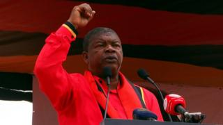 João Lourenço, presidential candidate for the ruling MPLA party, speaks at his party's final election rally in Luanda, Angola, 19 August 2017