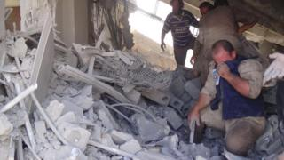 Aftermath of an airstrike in Talbiseh, Syria. 30th Sept 2015
