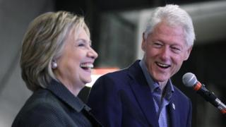 Hillary and Bill Clinton at an event in Iowa