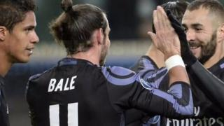 Wachezaji wa Madrid wakishangilia goli la Bale