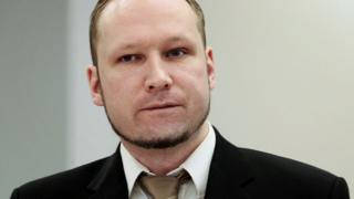 Anders Behring Breivik appears in court during his trial
