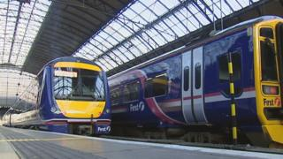Trains in Glasgow's Queen Street station
