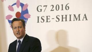 David Cameron at a press conference in Japan