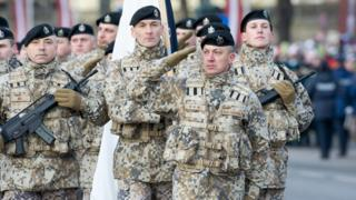 Latvian troops on parade - file pic