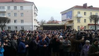 Акция протеста в городе Орша, Белоруссия, 12 марта 2017 года
