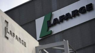 Logo on a plant of French cement company Lafarge on 7 April 2014 in Paris