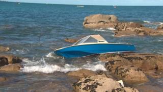 Boat on rocks
