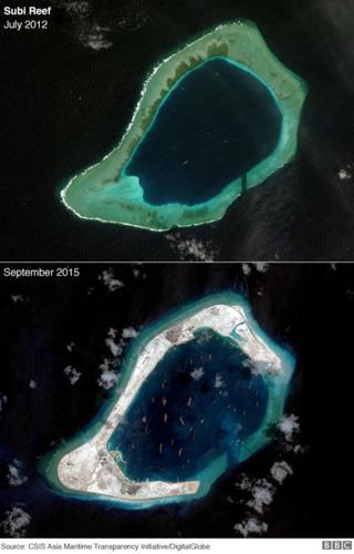 Satellite photography showing development at Subi Reef