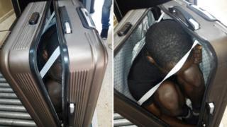 Imigrante africano escondido dentro de mala