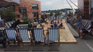 Urban beach in Newport