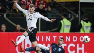 Timo Werner, le jeune attaquant allemand de Leipzig blessé mercredi lors du match amical international contre l'Angleterre à Dortmund