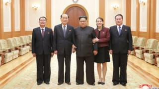 Photo of the North Korean delegation along with also Mr Kim