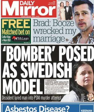 The front page of the Daily Mirror on Thursday