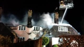 Thatch fire in Compton Beauchamp