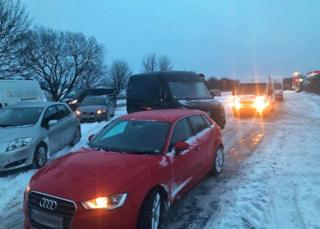 Queue of cars on the A303 between Ilminster, Somerset and Mere