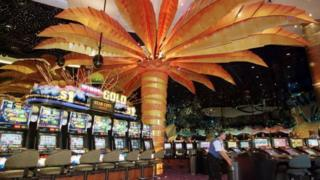 Slot machines on the main gaming floor of the Star City casino in Sydney